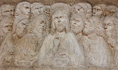 Padua - The Modern relief of the Last supper on the altar