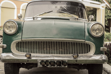 Front view of an old vintage retro classic car