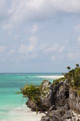 Idyllic beautiful beach in Tulum Mexico