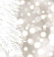 Abstract winter glowing background with fur-tree