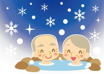 冬 雪国で温泉を楽しむ老夫婦
