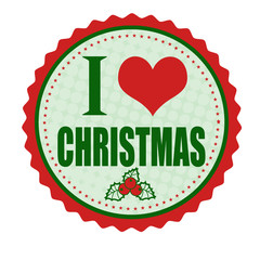 I love Christmas sticker or stamp