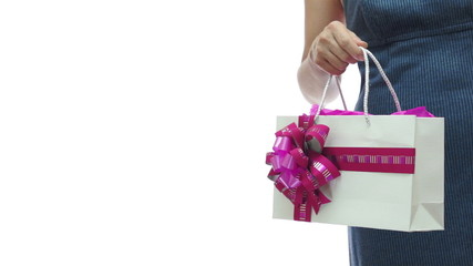 Woman Pink Gift Bag Copyspace