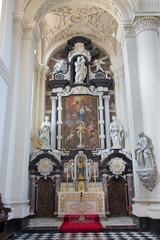 Bruges - The baroque side chapel in Saint Walburga church.