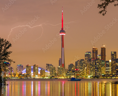 Poster lightning over Toronto Downtown Skyline