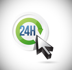 24 7 support button illustration design