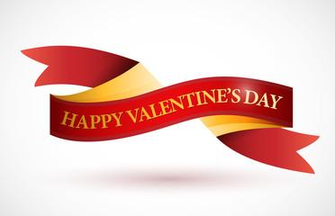 happy valentines day ribbon illustration