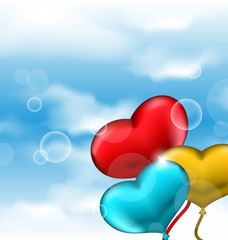 Collection glossy hearts balloons for Valentine Day in the blue