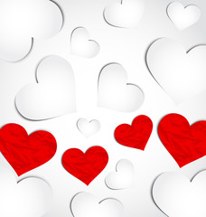Cute background for Valentine's day with paper hearts