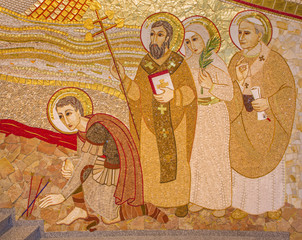 Trnava - detail of mosaic  in the St. Sebastian cathedral