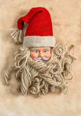 Vintage hand made Santa Claus. christmas background