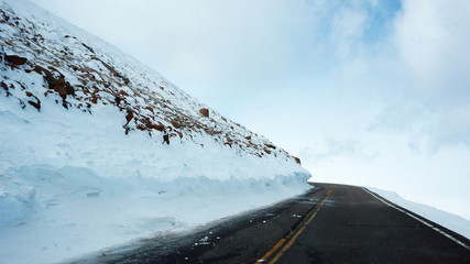 Road to the Pikes Peak, Colorado in the winter