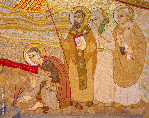 Trnava - detail of mosaic  in the St. Sebastian cathedral - 71752209