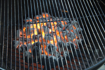 Hot charcoal on a bbq