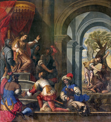 Padua - Paint of scene with prophet Elijah and  queen Jezebel