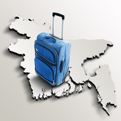 Travel to Bangladesh. Blue suitcase on 3d map of the country