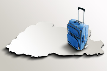 Travel to Bhutan. Blue suitcase on 3d map of the country