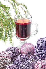 Red mulled wine and xmas decorations