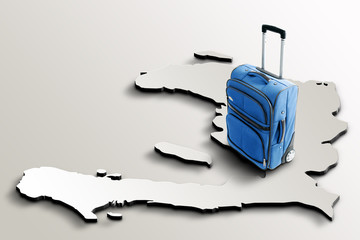 Travel to Haiti. Blue suitcase on 3d map of the country