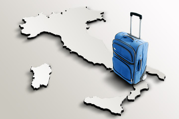 Travel to Italy. Blue suitcase on 3d map of the country