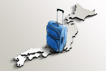Travel to Japan. Blue suitcase on 3d map of the country