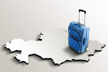Travel to Kazakhstan. Blue suitcase on 3d map of the country