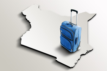 Travel to Kenya. Blue suitcase on 3d map of the country