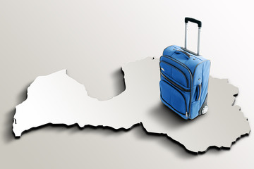 Travel to Latvia. Blue suitcase on 3d map of the country