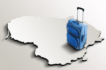 Travel to Lithuania. Blue suitcase on 3d map of the country