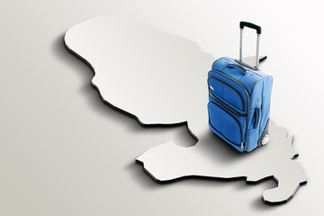 Travel to Martinique. Blue suitcase on 3d map of the country