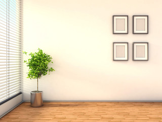 interior with plant and blank picture. 3D illustration