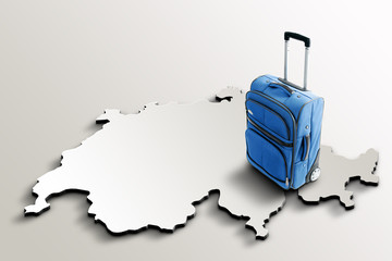 Travel to Switzerland. Blue suitcase on 3d map of the country