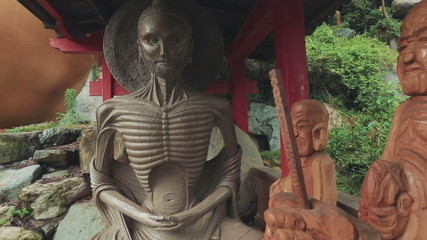 Starving Buddha Statue outside Japanese Temple