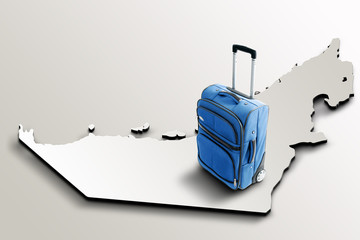 Travel to Emirates. Blue suitcase on 3d map of the country