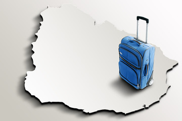 Travel to Uruguay. Blue suitcase on 3d map of the country