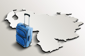 Travel to Venezuela. Blue suitcase on 3d map of the country