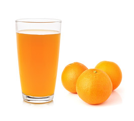 Fresh orange and glass with juice
