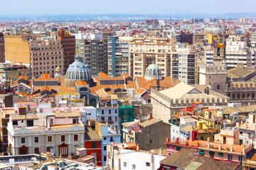 View on Central Market from the tower in Valencia, Spain
