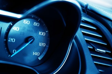 Blue Tachometer Closeup
