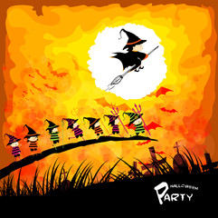 Happy Halloween party with kids under the moon