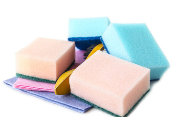 Sponges and rags for cleaning the house