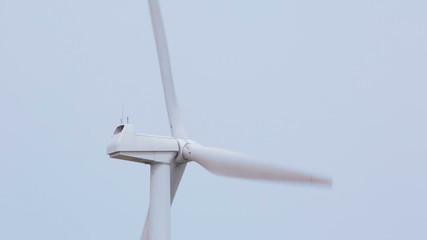Close up shot of a white windmill