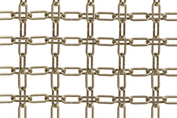 Metal chain parts on white background.