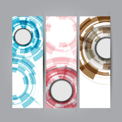 Vector vertical banners set with Abstract Modern technology
