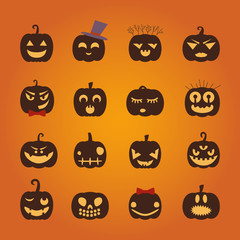 Set of halloween party decoration design elements