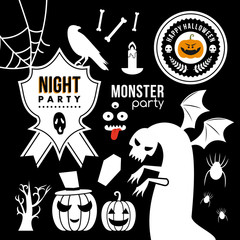 Set of halloween party decoration design elements