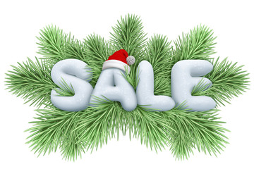 christmas tree, sale snow text, isolated illustration