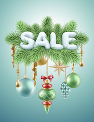 christmas sale snow text and holiday ornaments, illustration