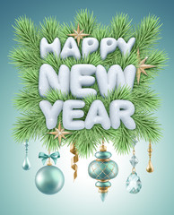happy new year snow text illustration, holiday ornaments