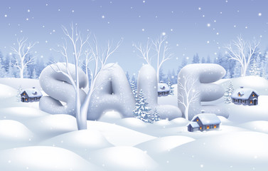 winter sale banner, nature illustration, holiday background